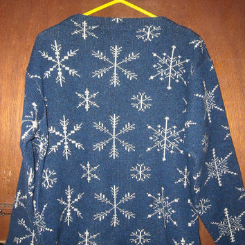 Womens Vintage Strick-Meister Austria Shetland Wool Snowflake Sweater 46 Christmas Winter Holiday