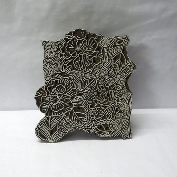 Indian wooden hand carved textile printing on fabric block / stamp fine art unique carving detailed design large pattern