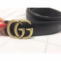 """Gucci"" Women Simple Fashion All-match Retro Metal Double G Letter Needle Buckle Leather Belt Waistband"