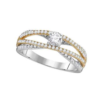 14kt White Gold Women's Round Diamond 2-tone Bridal Wedding Engagement Ring 3/4 Cttw - FREE Shipping (US/CAN)