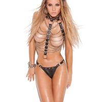 LEATHER AND CHAIN VEST W/THONG