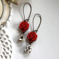 Beauty in Red  A Red Rose and A Vintage Crystal Glass by Marolsha