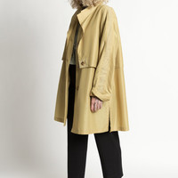 Vintage 80s Golden Pear Trench Jacket with Perforated Suede Trim | L