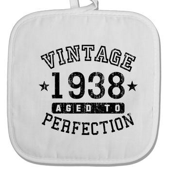 80th Birthday Vintage Birth Year 1938 White Fabric Pot Holder Hot Pad by TooLoud