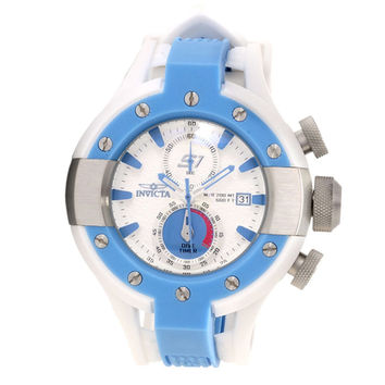 Invicta 13072 Men's S1 Rally Blue Bezel White Dial Rubber Strap Chronograph Dive Watch