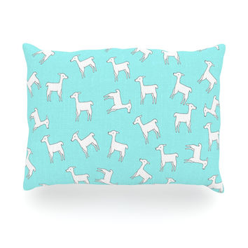 "Monika Strigel ""Baby Llama Multi"" Blue White Oblong Pillow"