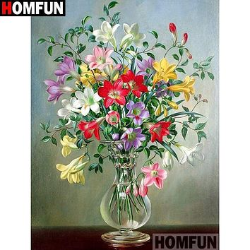 5D Diamond Painting Glass Vase of Mixed Flowers Kit