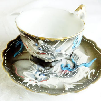 Dragonware Mid Century Moriage Tea Cup Toy or Souvenir Cup and Saucer from Japan