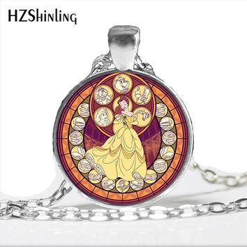 NS-00765 New Fashion the beauty and beast Necklace Handmade the beauty and beast Glass Cabochon Necklace Art Photo Jewelry HZ1