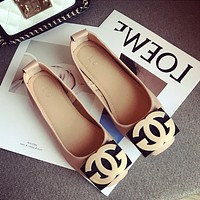Women Temperament Fashion Metal Buckle Letter Square-toe Shallow Mouth Loafer Lazy Flats Shoes
