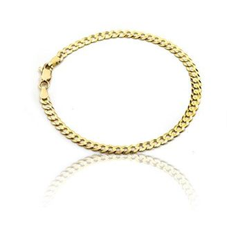 10k Fine gold Curb Cuban Chain Bracelet and Anklet, 0.16 Inch (4mm)