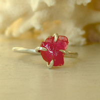 READY TO SHIP  Uncut Ruby Ring  Rough Raw Ruby  Red by MariDesign