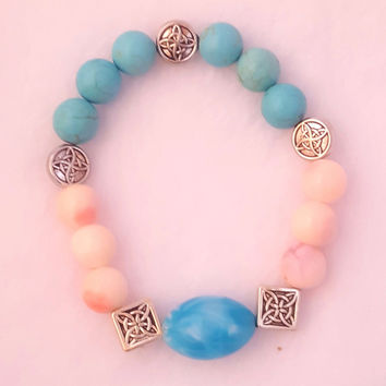 Blue & Pink Celtic Accent Beaded Bracelet