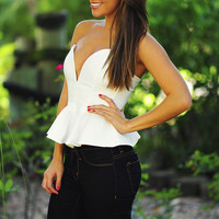 Worth Your While Peplum Top: White | Hope's