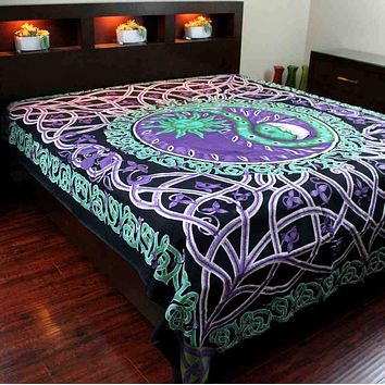 Celestial Yin Yang Tapestry Cotton Tablecloth Purple Celtic Bedspread Twin Full
