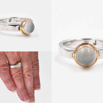 Vintage Sterling Silver & 14K Yellow Gold Moonstone Ring, Modernist, Two Tone, Size 7, Stackable, Stacking, Signed, Fantastic! #c178
