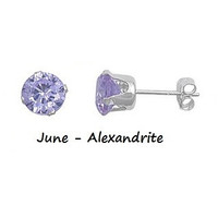 .925 Sterling Silver Brilliant Round Cut Lavender Alexandrite CZ Stud Earrings in 2mm-10mm