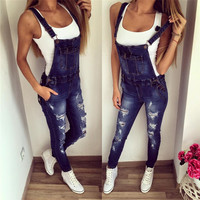 Fashion Denim   Overalls Jumpsuit