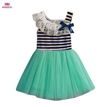 2017 New Fashion Baby Girls Striped Bowknot Sleeveless Dress Princess Party Kids Clothes Summer Mini Dresses for Girls Clothing