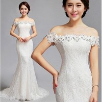 Sexy Ivory White Lace Off the Shoulder Bridal Wedding Reception Dress SKU-118330