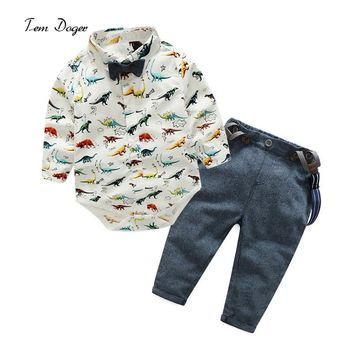 2017 New Fashion Baby Gentleman Long Sleeve Cartoon Shirt + Pants Baby Boys Clothing Sets  Newborns Clothes