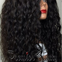 Freeshipping curly glueless full lace wigs 100% brazilian human hair wigs natural black bleached knots with baby hair for black women
