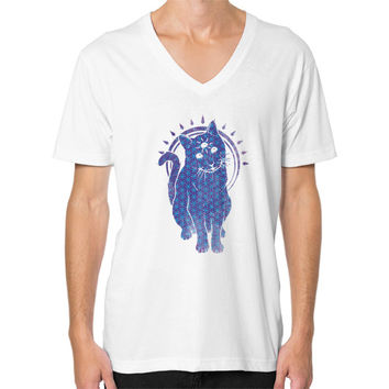 Trippy Kitty  flower of life edition V-Neck (on man)