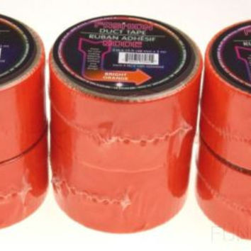 "Lot 6 Bright Orange Duct Tape 2""x10' USA Fashion Mode Crafts Decorating Repairs"