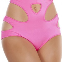 Hot Pink Cut Out High-Waisted Shorts
