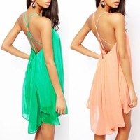 women's fashion Sexy back cross straps hollow solid color sleeveless chiffon dress party dress 3 colors = 5710292737