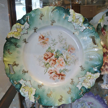 """RS Prussia Cake Plate 11 1/4"""" Antique Porcelain Rare Size Green Small Cluster Multicolored Roses Art Nouveau Victorian Edwardian Germany"""