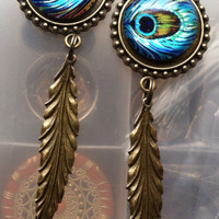 "Bronze Peacock Dangles Plugs 7/8 1"" 1 1/16"""