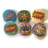 Fun Set of 6  comic book noises- pins or magnets