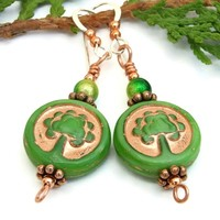 Tree of Life Handmade Earrings, Green Copper Czech Glass Miracle Beads Dangle Jewelry