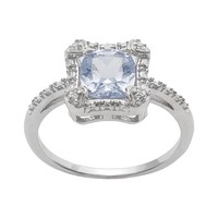 Sterling Silver Simulated Aquamarine & Diamond Accent Halo Ring (Blue)