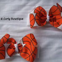 Basketball Hair bow Girls Orange Black White by CuteNCurlyBowtique