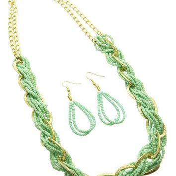 Mint Green Multi Strand Micro Bead Necklace And Earring Set