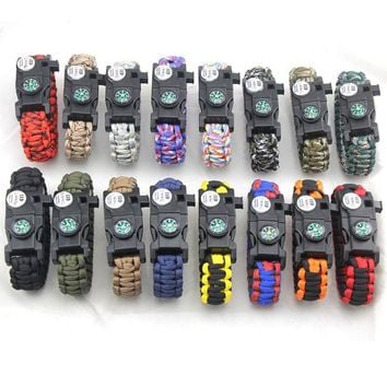 Wolf Warriors Self Defense Camping Rescue Lifeline Bracelets Parachute Cord Emergency Rope Survival Buckle Braided SOS Chain
