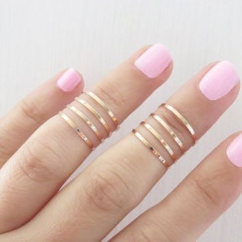 Golden ring - 8 Above the Knuckle Rings, Golden stacking ring, Knuckle Ring, Band ring, Midi ring, Accessories,Birthday gift = 1645874244