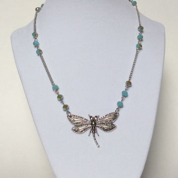 Silver Dragonfly Beaded Turquoise Crystal Necklace, Dragonfly Necklace, Bride's Maid Necklace, Outdoor Wedding, Statement Necklace, Everyday