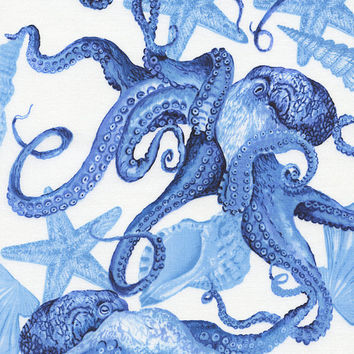 27 Inch Remnant - Deep Sea Octopus Fabric - From Nautical Life for Timeless Treasures C1731 Navy