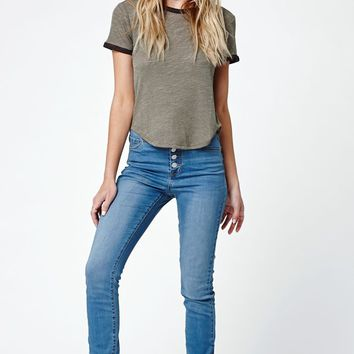 Bullhead Denim Co. Lucy Blue Exposed Button Super High Rise Skinny Jeans - Womens Jeans - Blue