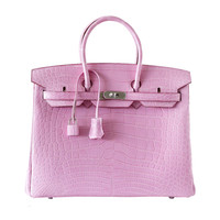 HERMES BIRKIN 35 Bag coveted 5P PINK Matte Alligator palladium