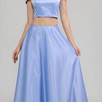 Blue Off-the-Shoulder Two-Piece Prom Gown with Pockets