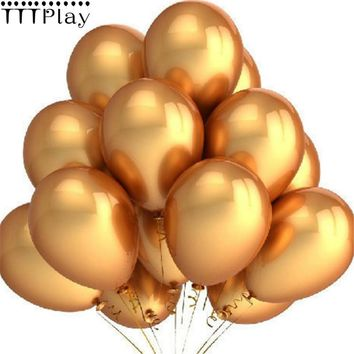 Gold Balloons 10pcs/lot 12 Inch Thick 2.8g Latex Helium Balloons Wedding Decoration Inflatable Air Balls Birthday Party Supplies