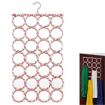 1pcs  Storage Racks 28 Holes Scarf Holder Hook Storage Holder for Rattan Weave Shawl Scarf Neat Hangers Storage Organizer