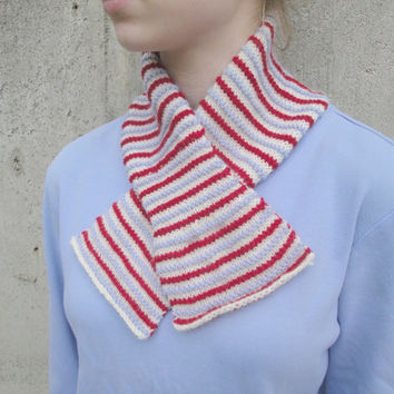 Striped Scarflette, Office Scarf, Hand Knit, Natural Fiber, Red/White/Blue, Ascot Keyhole Pull Through Scarf