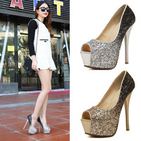 Gradient Peep Toe High Heel Korean Fashion Waterproof Water Proof Stylish Shoes = 4804971140