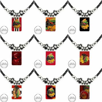 For Unisex Gift Logo For Chicago Blackhawks Nhl Black Leather Bead Pendant Handmade Glass Long Necklace Jewelry Good Condition