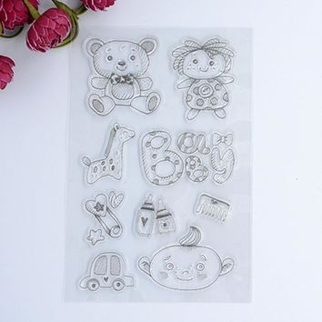 2017 new Scrapbook DIY Photo Album Account Transparent Silicone Rubber Clear Stamps Cute Bear Baby 10.5x15cm